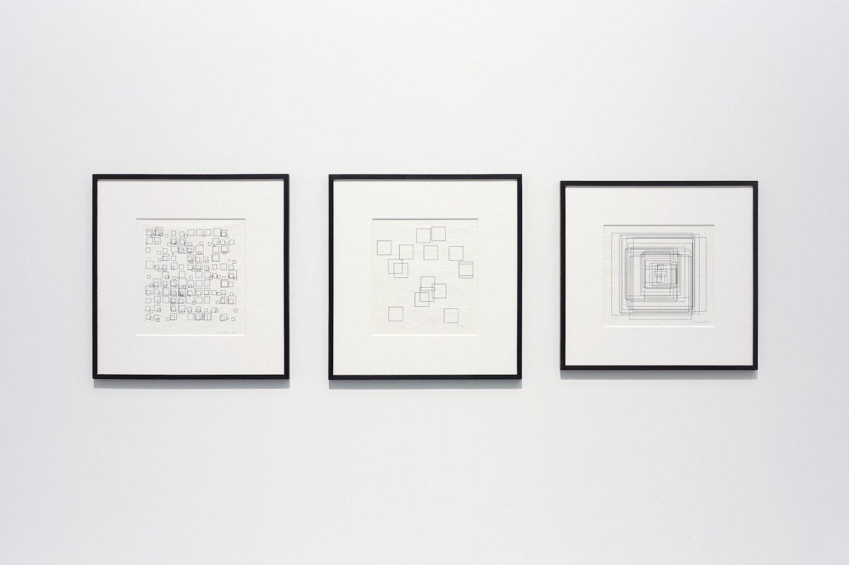 Vera Molnár, From the left: Small Squares, 1973, Hypertransformation, 1974, Large Squares